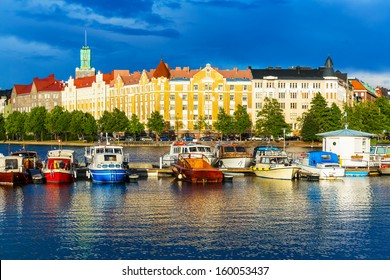 Beautiful summer scenery panorama of the Old Town pier architecture in Helsinki, Finland
