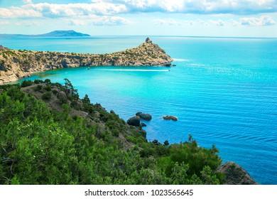 Beautiful summer sea landscape at the resort in the Crimea