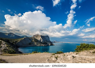 Beautiful summer sea landscape at the resort in the Crimea. Golitsyn trail, cape kapchik