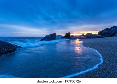 beautiful summer seascape with mountain and waves, natural background