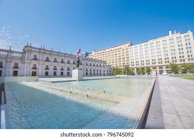 Beautiful summer shot of La Moneda, Chilean Government building.