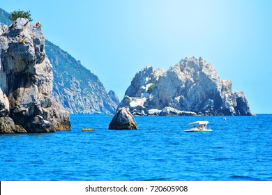 Beautiful summer sunny landscape with rocks and blue sea