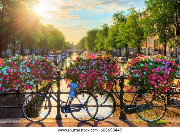 Prachtige zomerzonsopgang op de beroemde UNESCO werelderfgoedgrachten van Amsterdam, Nederland, met levendige bloemen en fietsen op een brug