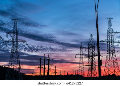 Beautiful summer sunset near the CHP.Electrical network