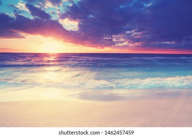 beautiful summer sunset at the ocean