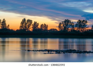 Beautiful summer sunset on the river Tom, Kemerovo region,Kuzbass