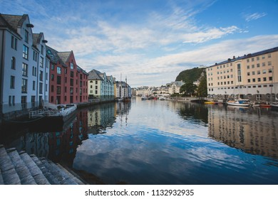 Beautiful summer view of Alesund downtown and embankment, More og Romsdal county, Norway, with concentration of Art Nouveau architecture