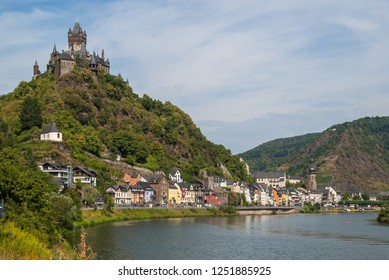 Beautiful summer view of the city of Cochem on the Moselle River with Cochem Imperial Castle. Photo taken July 2018.