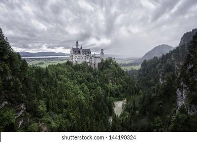 Beautiful summer view of the Neuschwanstein castle (Bavaria, Germany).