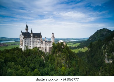 Beautiful summer view of the Neuschwanstein castle and royal palace in the Bavaria of Germany,