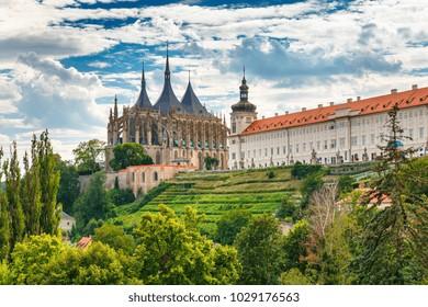 Beautiful summer view on St. Barbara's Church in Kutna Hora, Czech Republic