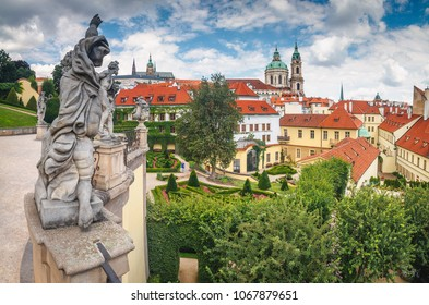 Beautiful summer view on St Vitus cathedral from Vrtba garden (1