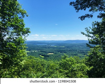 Beautiful summer views on the mountain top of Appalachian trail that passing through Salisbury Connecticut United States.