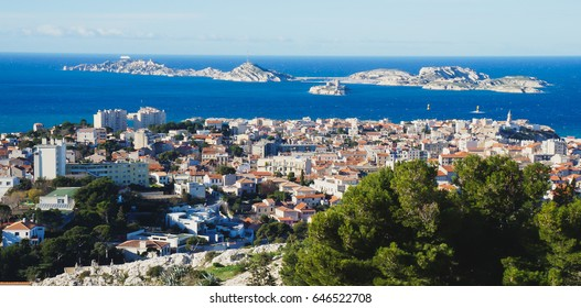 Beautiful summer wide-angle view of Marseilles skyline and harbor, France