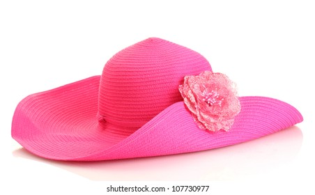 Beautiful summer woman hat with flower isolated on white background