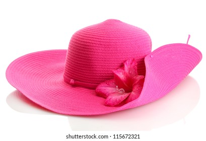 Beautiful summer woman hat with flower isolated on white