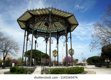 Beautiful summerhouse in the Sicilian park in the spring.