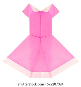 Beautiful summery pink dress of origami, isolated on white background.