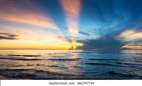 beautiful sun beam at sea in the morning