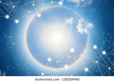 Beautiful sun halo phenomenon with lines and dots wireless connection icons in the sky. Global network connection background concept.