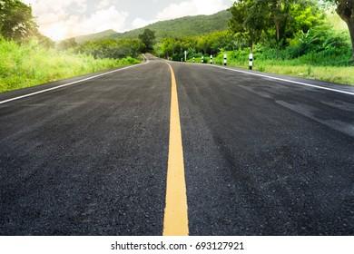 beautiful sun rising sky with asphalt highways road in rural scene use land transport