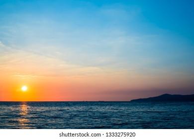 a beautiful sun set on the beach at Anvaya Cove, Philippines