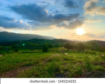Beautiful sun set on the big mountain