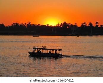 Beautiful sun set over river Nile, Egypt