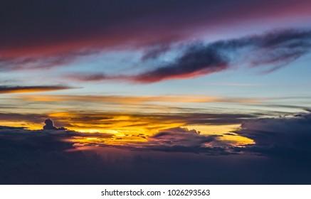 A beautiful sun set as seen from 30,000+ feet.