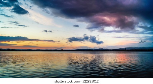 Beautiful sundown at Lake Constance with fantastic cloudy mood