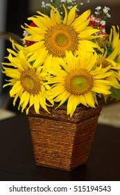 beautiful sunflower  basket