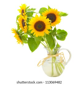 beautiful  sunflowers bouquet  in vase isolated on white background