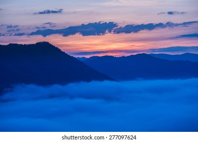 beautiful sunlight and fog at  phu thok chiang khan in loei province thailand