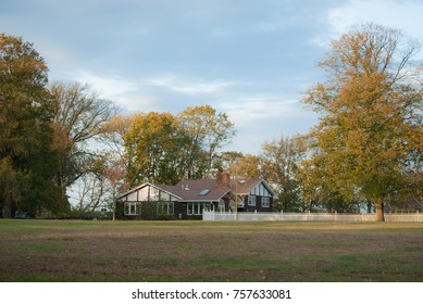 beautiful sunny country house in fall
