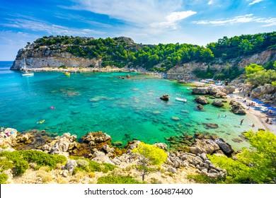 Beautiful sunny day at Anthony Quinn Bay Faliraki on the Island of Rhodes Rodos Greece Europe
