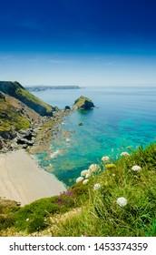 A beautiful sunny day at Bassets cove, Cornwall, England