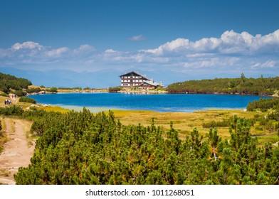 Beautiful sunny day at Bezbog hut in Bulgaria, Bansko