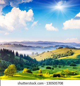 Beautiful sunny day is in mountain landscape. Carpathian, Ukraine, Europe. Beauty world.