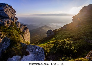 Beautiful sunny day is in mountain landscape. Carpathian, Ukraine, Europe.