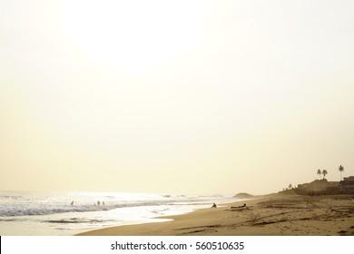 A beautiful sunny day in November at the Cape Coast (Ghana) beach.