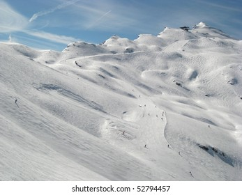 Beautiful sunny day on alps in Avoriaz, France