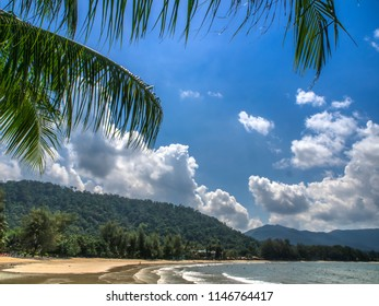 A beautiful, sunny day on the beach with blue sky on the west coast of Koh Chang in eastern Thailand