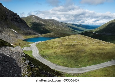 Beautiful sunny day outside with clouds at Hatcher Pass, Alaska