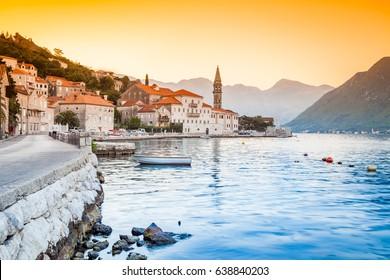 Beautiful sunny day in Perast, Montenegro, Europe, mediterranean landscape