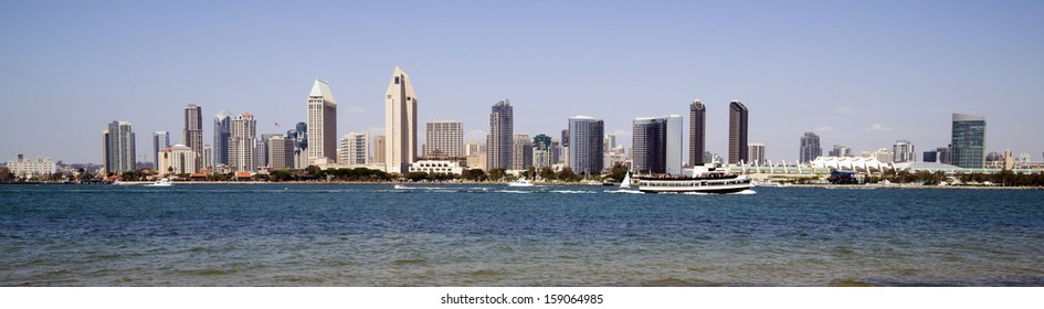 Beautiful Sunny Day San Diego California Panoramic Downtown City Skyline