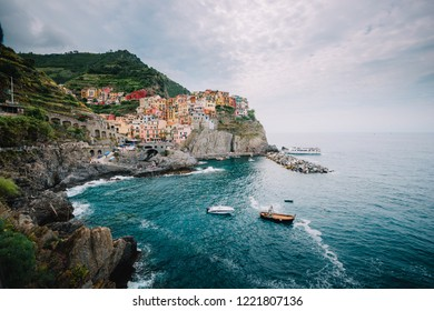 Beautiful sunny day view of the colourful houses in Manarola cinque terre