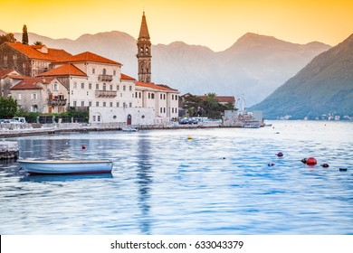 Beautiful sunny morning in Perast, Montenegro, mediterranean landscape, Kotor bay (Boka Kotorska), Montenegro, Europe, old historical town and resort.