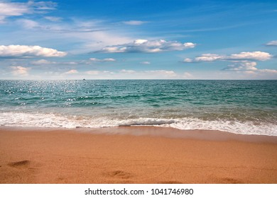 beautiful sunny sandy beach on the Mediterranean coast