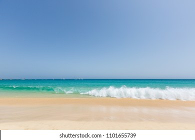 Beautiful and sunny seascape with gold sand and turquoise ocean at Sal island, Cape Verde, Cabo Verde