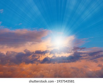 beautiful sunny sky and clouds over the horizon